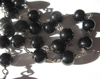0.20 m chain silver metal trimmed glass (U11) beads