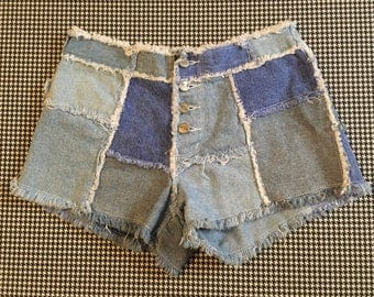 1990's, buttonfly, patchwork denim, shorts, Women's size 7/8