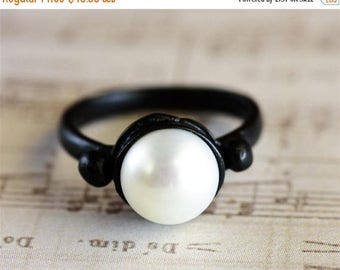 SALE Black Pearl Ring, Black Ring, Statement Ring, Black Fashion Ring, Alternative Engagement Ring, Unique Ring for Women, June Birthstone R