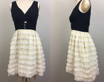 Vintage 60s MOD Black and White Lace RUFFLE Dress XS/S