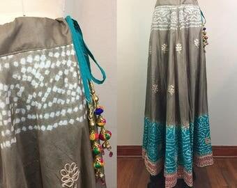 Vintage Ethnic Indian SILK Batik Maxi Skirt Gray Blue