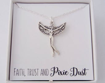 Fairy Necklace - Custom Handstamped Angel Charm - 925 Sterling Silver Jewelry - Faith, Trust and Pixie Dust