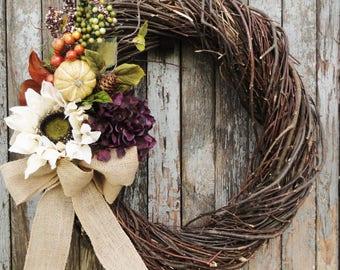 Fall Sunflower Wreath, Fall Hydrangea Wreath, Grapevine Wreath, Burlap Wreath,  Autumn Wreath, Fall Sunflower Wreath, Thanksgiving Wreath
