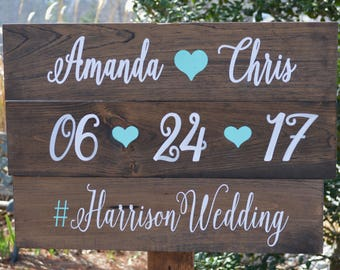 Boho Wedding Hashtag Sign, Large Wood Hashtag Sign For Wedding With Stake, Rustic Wedding Date Sign, Social Media Sign, Reception Sign