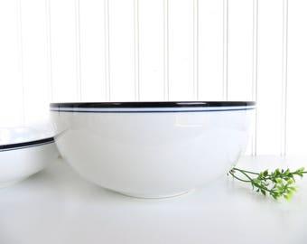 """Dansk Bistro Large Serving Bowl, Danish Modern Blue And White Porcelain Fruit Bowl, Dansk 8 1/2"""" Bistro Christianshavn Bowl"""