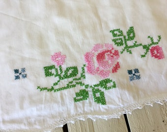 Vintage Pillowcase Size Standard Stitched Pink Roses Bedding Linen Shabby Chic Pillow Cover Vintage Linen by picadillymarket