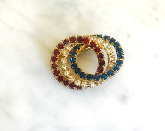 Vintage Red, White, and Blue Rhinestone Brooch