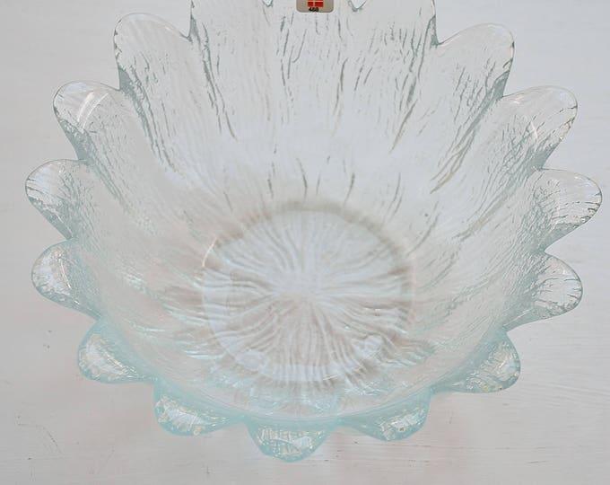 Vintage Danish Holmegaard Glass Flower Bowl 1980's Denmark Scandinavian Modern