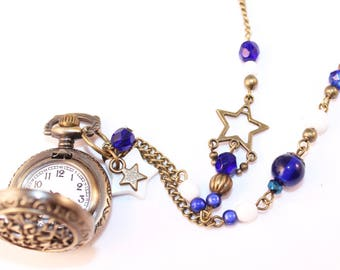 Watch FOB necklace star, beads blue and white