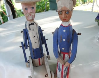 Primitive Wood Figures Uncle Sam Miss Liberty Hand Carved