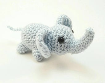 Crochet Elephant - Elephant Stuffed Animal- Small Elephant Amigurumi - Elephant Plush - Handmade Crochet Animals - MADE TO ORDER