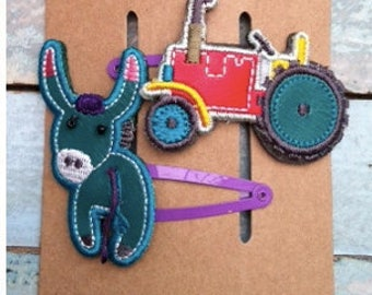 Girls Donkey and Tractor Hair Clips