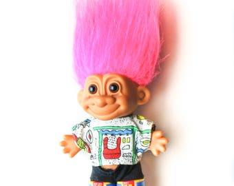 "Rollerblade Russ Troll Doll | Vintage Troll Doll | Pink Hair | 4"" | Rollerblading"