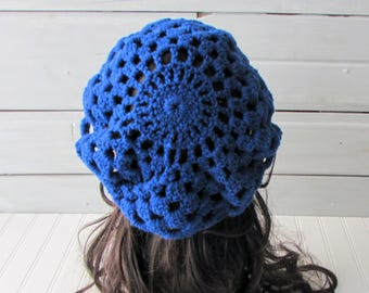 Teen Ladies Royal Blue and Burgundy Super Slouchy Beanie Ready to Ship Hand Crocheted Beret