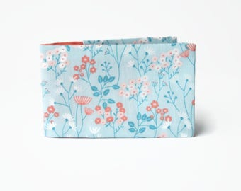 Pastel Oyster Card Wallet, Credit Card Case, Gift for her, Fabric Card Holder for 12 cards - Pink Flowers on Blue