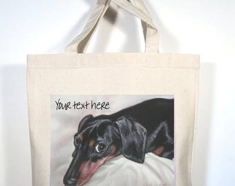 Dachshund Tote, Custom Dachshund Canvas Tote, Dachshund Gift, Doxie Shopping Bag