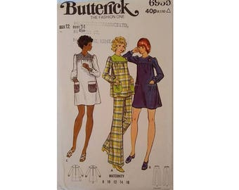 "UNCUT Butterick #6959 Vintage Maternity Dress, Smock Tunic Top and Trouser Pant Sewing Pattern Size Bust 34"" UK 12"