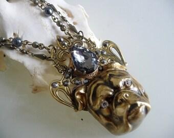 Brass dog love necklace