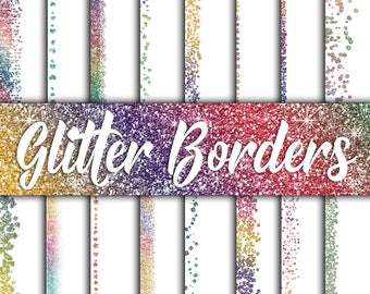 Rainbow Glitter Borders Digital Paper - Glitter Textures - Glitter Backgrounds -  16 Designs - 12x12in - Commercial Use -INSTANT DOWNLOAD