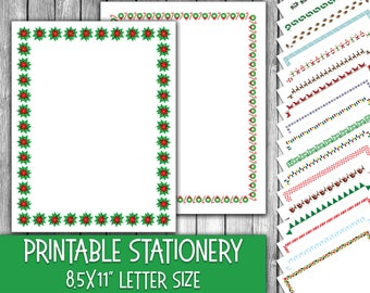 Printable Christmas Stationery - Christmas Letter Paper - Christmas Letterheads -  16 Designs - 8.5in x 11in - Commercial Use