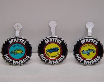 Mattel Hot Wheels Collectible Badges, 1969, Set of 3, Fold Over Badge, Button, Tab Top, Hot Heap, Mighty Maverick, Indy Eagle