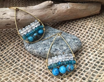 Mixed Stone drop earrings