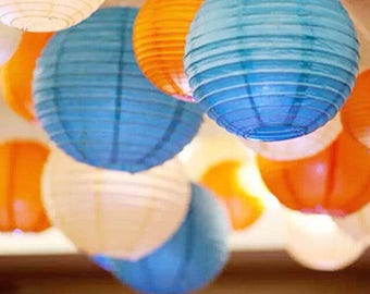 9x Blue Orange White Paper Lanterns with LED Bulbs for Wedding Engagement Anniversary Boy's 21st 16th Birthday Party Decoration