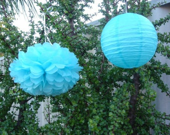 Aqua Blue Tissue Pom Poms & Lanterns Beach Wedding Ceremony Engagement Decoration Baby Boy Baby Shower Boy's 1st Birthday Party Nursery Deco