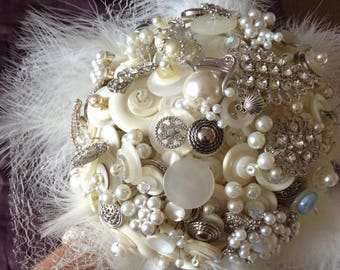 Ivory button bouquet, Glitz and Glamour.