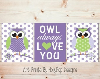 Owl Always Love You Owl Nursery Wall Art Owl Decor Purple Green Nursery Decor Toddler Girls Room Nursery Wall Decor Kids Nursery Trio #1184