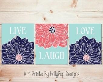 Live Laugh Love home decor prints Navy aqua coral wall art Bedroom wall decor Dahlia art prints Kitchen wall art Modern decor prints #1470