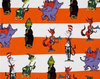 Dr Seuss Halloween CAT in the HAT, Grinch and Friends on Orange stripe Quilt Fabric By-the-HALF-yard