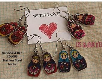 Russian Doll Matryoshka Earrings in Pink Purple Red Blue (BO17) Stainless Steel