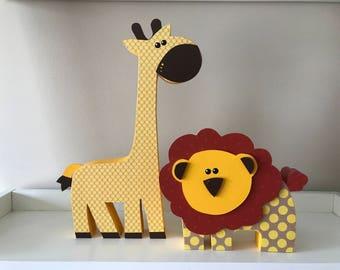 Wooden Giraffe or Lion \\ Kids Room Decoration