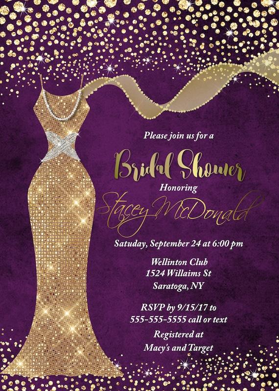 Purple gold bridal shower invitation unique shower gold sequin il570xn filmwisefo Image collections