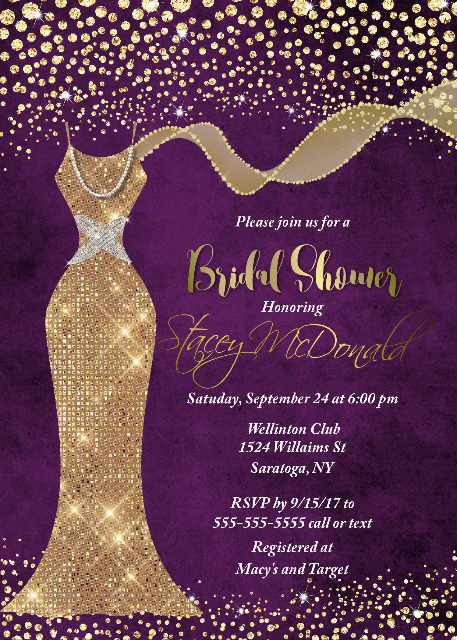 Purple and Gold Bridal shower invitation Bridal Shower Invitation – Wedding Dress Shower Invitations