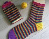 Meraki Fern Sock 100gms - Magic Rainbow Self Striping Yarn