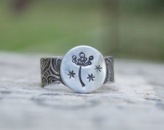 Sterling Bristly Flower Ring. Sterling . Dainty .  Handmade  . Rustic . Earthy . Boho . Hand Stamped .  Ring