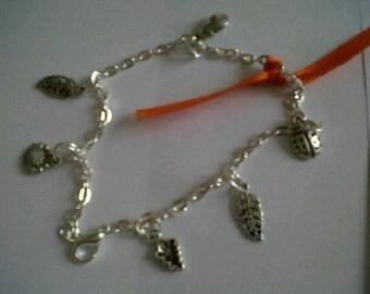 orange Ribbon Bracelet silver color