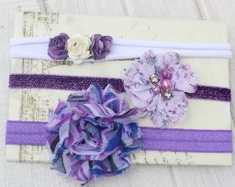 Baby Headband, Flower Headband, Kids Headbands, Purple Headband, Purple HeadBands, Glitter Headband, Baby Flower Headband