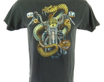 Vintage 80s 3D Emblem Harley Davidson T-shirt L Rattlesnake Sturgis 50/50 [H66P_0-8]