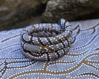 Aboriginal art vegan SPIRALOCK - 'Underground Water' original bendable dread to to wrap and secure your locks