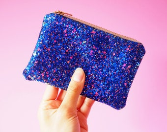 Royal Blue Glitter Coin Purse, Royal Blue Coin Pouch, Cobalt Coin Purse, Royal Blue Zipped Pouch, Blue Glitter Purse, Sparkly Blue Purse,