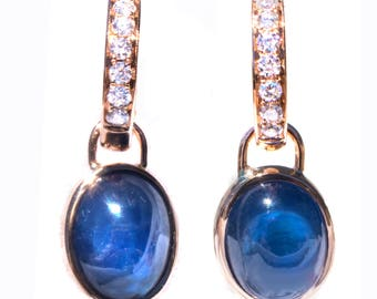 Natural Sapphire & Diamond Dangle Earrings 18KR