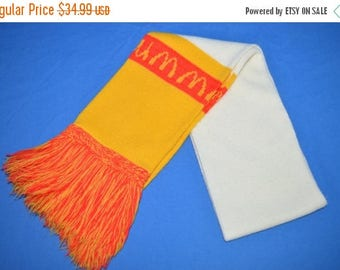 ON SALE 80s McDonalds White Yellow Winter Scarf