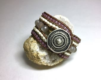 Moonstone and Lavender Beaded Leather Cuff