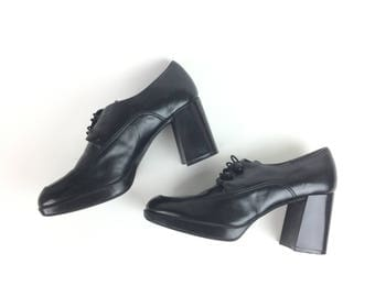 Women's oxford, black oxfords, 1990s does, 1960s platform shoes for costume or wear, black heeled oxford