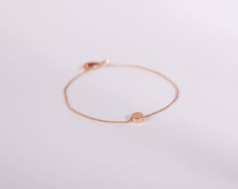 Pretty Bracelet Rose Golden Disc Love Chain Plated Circle Rose Gold Plated