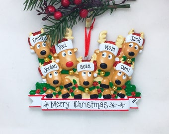 7 Reindeer with Bells Family / Personalized Christmas Ornament / Large Family / Hand Personalized