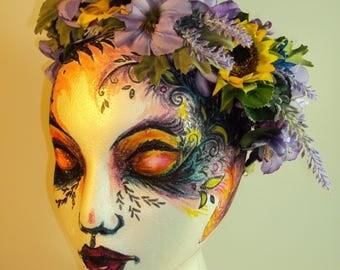Sunflower Lavender Floral Crown
